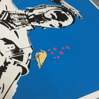 C3PO screenprint, red hearts