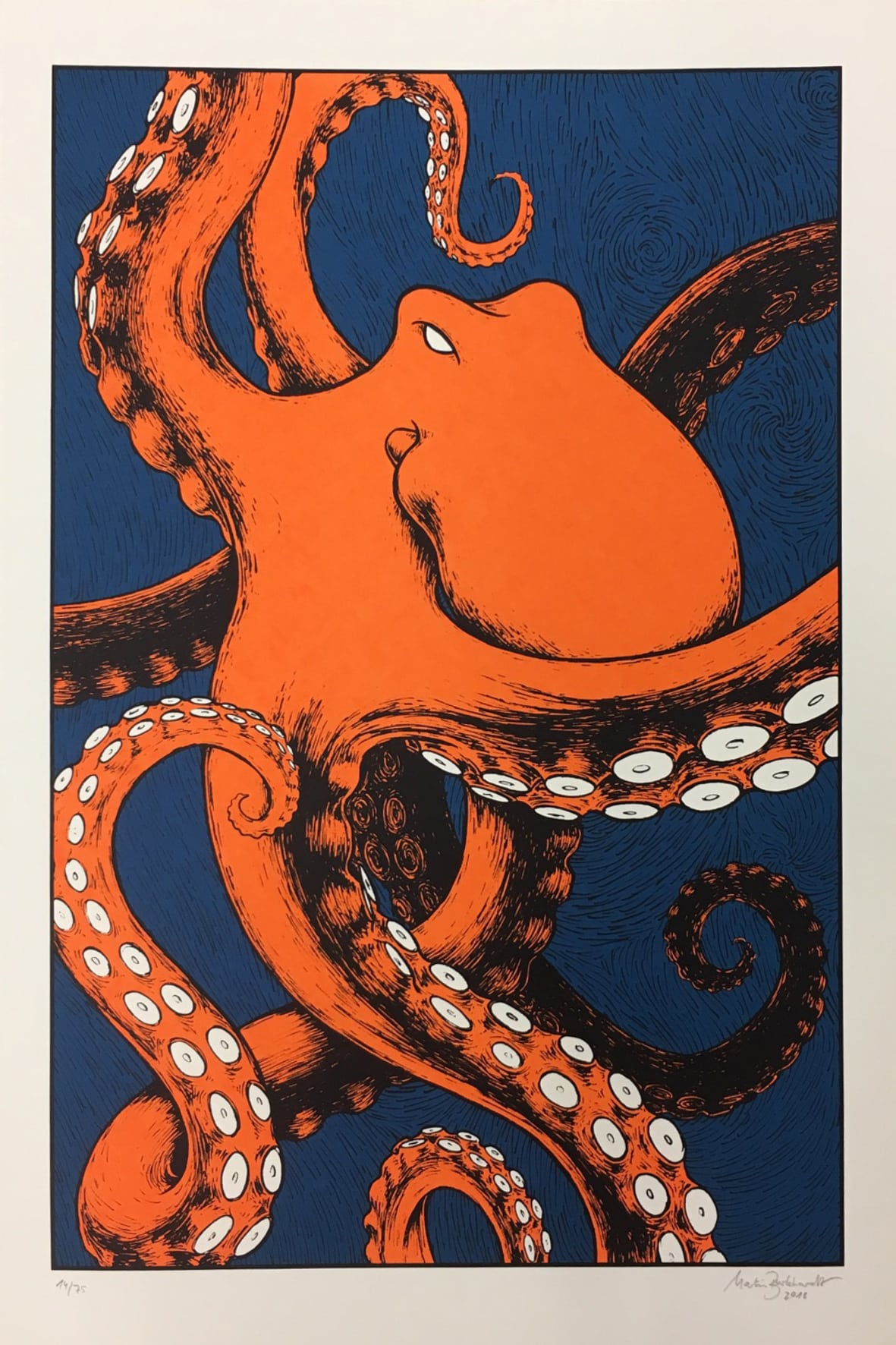 Oktopus Siebdruck Illustration