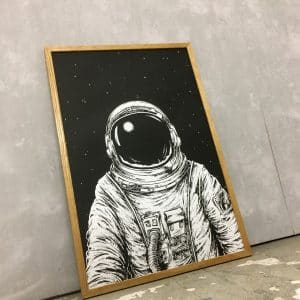 Raumfahrer Astronaut Siebdruck Illustration