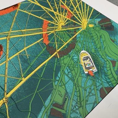 Riesenrad Siebdruck - Detailansicht